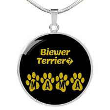 """Biewer Terrier Mama Circle Necklace Stainless Steel or 18k Gold 18-22"""" Dog Owner"""