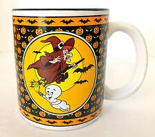 "Vintage 1986 Casper the Friendly Ghost Halloween Mug Witch Pumpkins 3.5""H EUC"