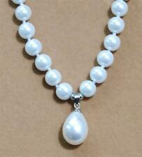 "8mm White Akoya Shell Pearl + Drop Pendant(12x16mm) Necklace 18"" AAA"