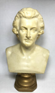 Vintage Large Ceramic Wolfgang Amadeus Mozart Bust Statue