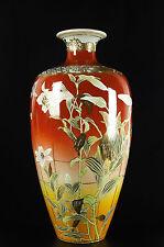 Grand vase Satsuma H:48 cm Japon c1900 style art-nouveau fleurs & oiseaux Japan