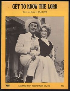 Get To Know the Lord 1970 Roy Rogers Dale Evans Sheet Music