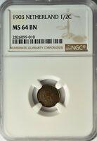 NETHERLANDS 1/2 CENT 1903 NGC MS 64 BN UNC