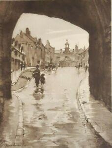 Broad Street Ludlow by E B Musman Vintage Print 1947