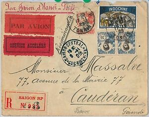 56763 - AVIATION  Muller # 29 First Flight Cover INDOCHINE to FRANCE  17.11.1929