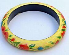 """Vintage Painted Floral Wood Bangle Bracelet.  1/2"""" wide"""
