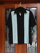 Men's Vintage 50's 60's Rockabilly Charlie Sheen Style Stripe Bowling Shirt