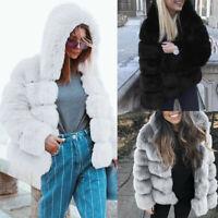 Women Faux Mink Winter Warm Hooded Coat Faux Fur Jacket Thick Outerwear Overcoat