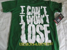 """NEW Boys UNDER ARMOUR Graphic """"I CAN'T I WON'T LOSE"""" Grn/Wht/Yw YSM 8 FREE SHIP!"""