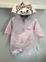 BNWT Primark Baby Girl's DISNEY Marie cat pink jersey ALL-IN-ONE sleep suit Hood