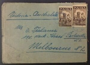 Poland post WWII covers imperf stamps Katowice & Tulowice p/marks 5zt 15 zt vals