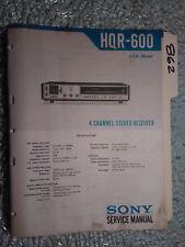 Sony hqr-600 service manual original repair book stereo receiver tuner radio