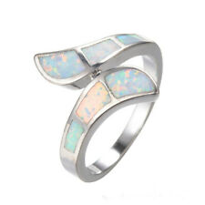 Women Fashion Silver White Artificial Opal Ring Bridal Wedding Jewelry site 9