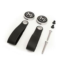 Vintage Leather door pull handle kit, black logo, Mazda MX-5 mk1 JDM Eunos MX5