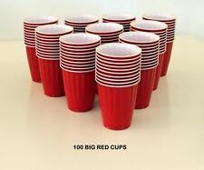 100 AMERICAN LG 523ML PARTY RED CUPS BEER PONG SCHOONER FRAT KEG USA BIG RED CUP