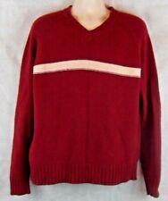 OSHKOSH V-Neck Sweater Size XL Burgundy/White 100% Lambswool