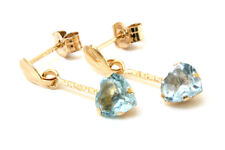 9ct Gold Blue Topaz Dangly drop heart Earrings Gift Boxed Made in UK