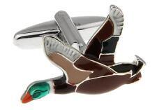 Duck Flying Pair Cufflinks Wedding Groom Dad Fancy Gift Box & Polishing Cloth