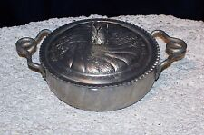 Vintage Hammered Aluminum 2 Handled Serving Piece And Lid With Tulip Handle