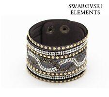 Manchette bracelet Swarovski® Elements cuir souple pression NOIR cristal argenté