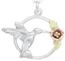 Ladies Dakota Black Hills Gold & Silver Hummingbird & Flower Pendant  GSP 150 W