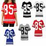 NEW Ladies Women 85 Varsity T-shirt American Baseball Football Jersey Top Size
