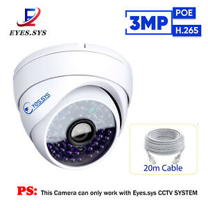 H.265 Waterproof HD 3MP POE 48LEDs IP Dome Camera For Eyes.sys CCTV NVR System