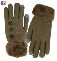 Womens Winter Thick Fleece Fur Lined Thermal Insulated Knit Touchscreen Gloves