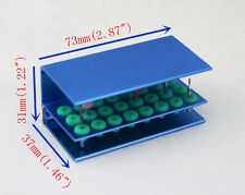 24 Holes Dental Bur Holder Stand Autoclave Disinfection Box with Silicone Blue