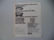 advertising Pubblicità 1967 CRUSCOTTO VEGLIA BORLETTI PER FIAT 850/1100 R/124