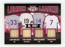 2021 Leaf Lumber Leaders Nl 1997 Quad Bat Relic Walker Gwynn Andres & Biggio d/7