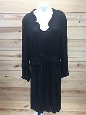 Eloquii 18 Black Dress Long Sleeve Ruffles Sheer Drawstring Waist Mid-Calf B79