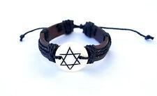 Bracelet Leather Star of David  Jewish symbol israel Judaica Wristband