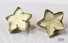 LALIQUE STARFISH FROSTED PALE YELLOW TONE CRYSTAL GOLD PLATED CLIP-ON EARRINGS