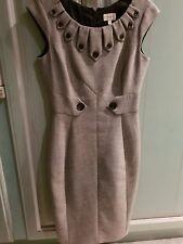 Karen Millen ❤️ Black White Tweed Button Wool Pencil Office Work Dress Size 10