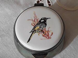 Vintage Strachan enameled porcelain pill box New Holland honey eater