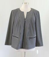 NWT Kasper Gray Black Textured Knit Blazer Jacket Size 16W Collarless Zip Front