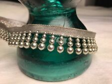 5 Yard Silver Drop Beads Fringe vintage trim Sew in Twill Tape Piping