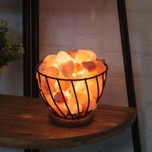 Himalayan Salt Lamp Night Light Metal Basket Table Lamp Healing Ionizing UK Plug