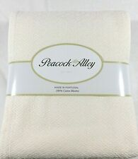 Ivory QUEEN or KING BLANKET Dense Cotton TRICOT Peacock Alley Solid New