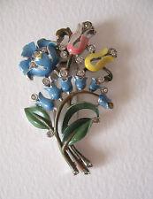 ~ vintage Crown Trifari 1941 pelliccia clip, SPILLA, SMALTATO Fiori, brevetto 125849
