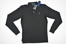 POLO RALPH LAUREN Womens Collar Polo Wool Blend Long Sleeve Shirt SZ S Black $98
