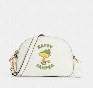 💚Coach Woodstock Peanuts Mini Serena Crossbody Bag Leather Chalk Handbag NWT