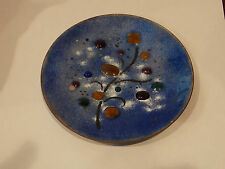 Beautiful Colorful Blue Enamel Brass Plate Pin Tray Soap Dish Flower Design
