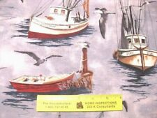 BOATS & SEAGULLS  ALLOVER   Cotton Fabric BTY