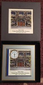 York Preparatory School New York, NY Desk Top Glass Frame With Quartz Clock