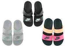Nike Womens Benassi Duo Ultra Leather Slides Sandals 819717 Black/White NEW