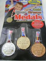 Nuevo 3 Dorado o Plateado Bronce Campeones Del Mundo Medallas Deporte