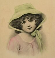 Vintage Little Girl Curly Hair Bonnet Portrait Postcard Hand Colored Unposted