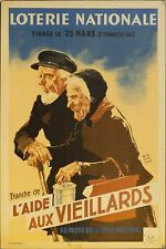 1942 Tranche De L'Aide Aux Viellards Secours National French Lottery Poster WWII